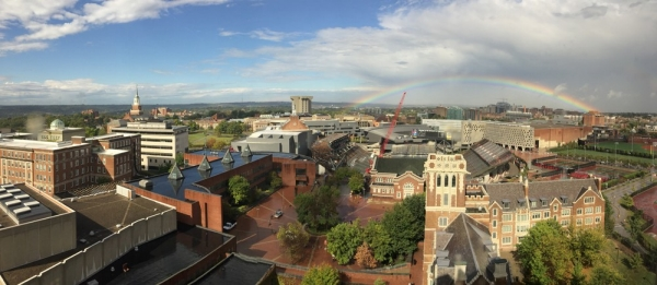 A photo that captures a beautiful rainbow branched across the University of Cincinnati campus.