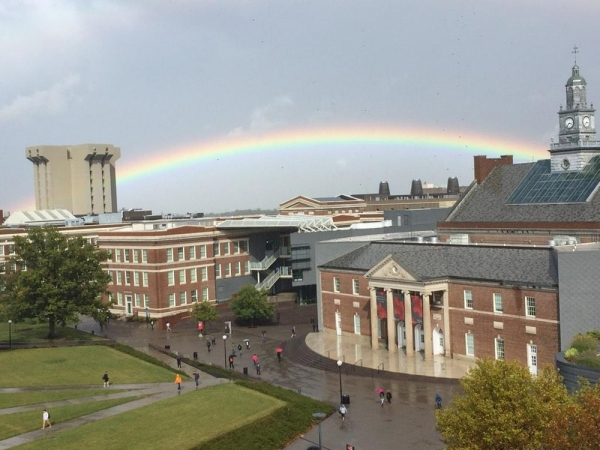 A beautiful double rainbow across the University of Cincinnati campus.