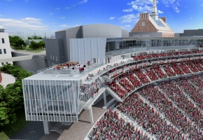 An architectural rendering of how the University of Cincinnati's football stadium, Nippert Stadium, will look when major renovations are complete.