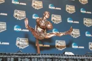A figure on a trophy that was modeled after UC basketball great Oscar Robertson