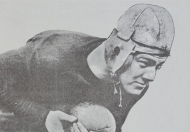 Original University of Cincinnati Bearcat Teddy Baehr in his leather helmet.
