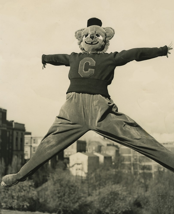 A person dressed as the University of Cincinnati mascot Bearcat leaps in the air