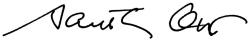 The signature of the University of Cincinnati President Santa Ono