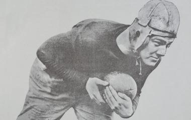 Teddy Baehr in a leather helmet