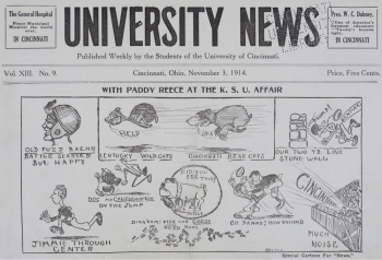 University News cartoon shows the first use of Bear Cats
