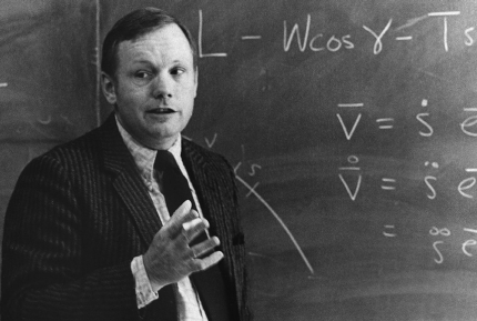 First-man-on-the-moon Neil Armstrong in front of a chalkboard. Armstrong taught at the University of Cincinnati.