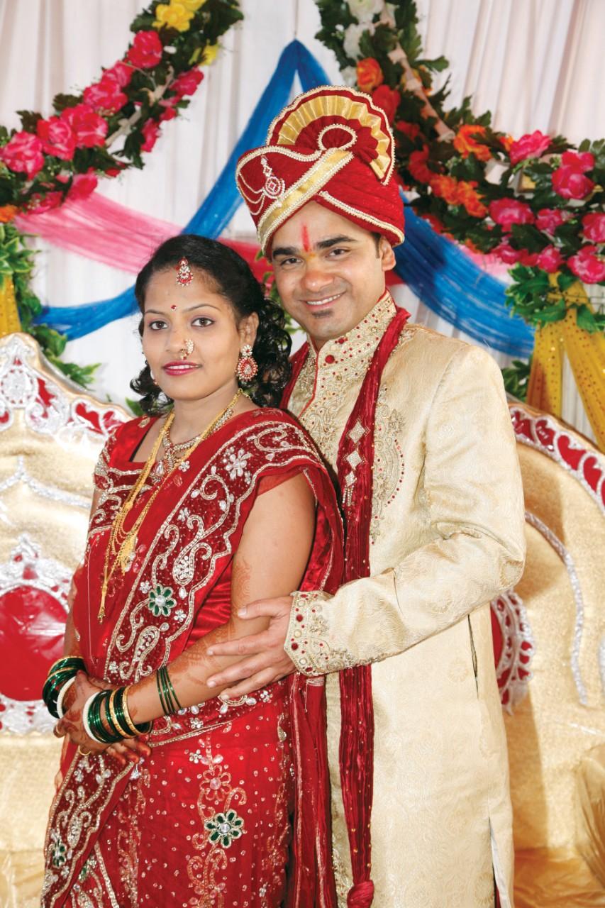 Anjani Lahade with Bipin Shedge at their wedding in India