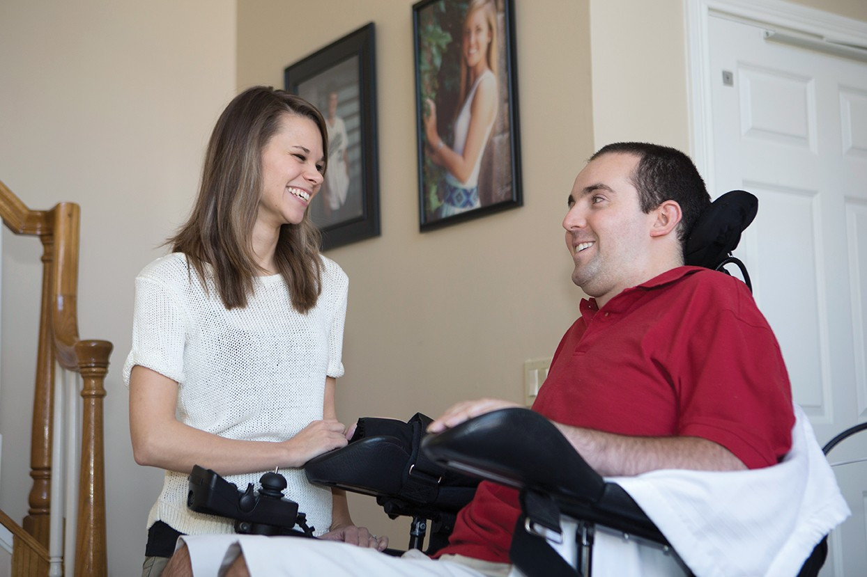 Ryan Atkins and Stephanie Perry laugh