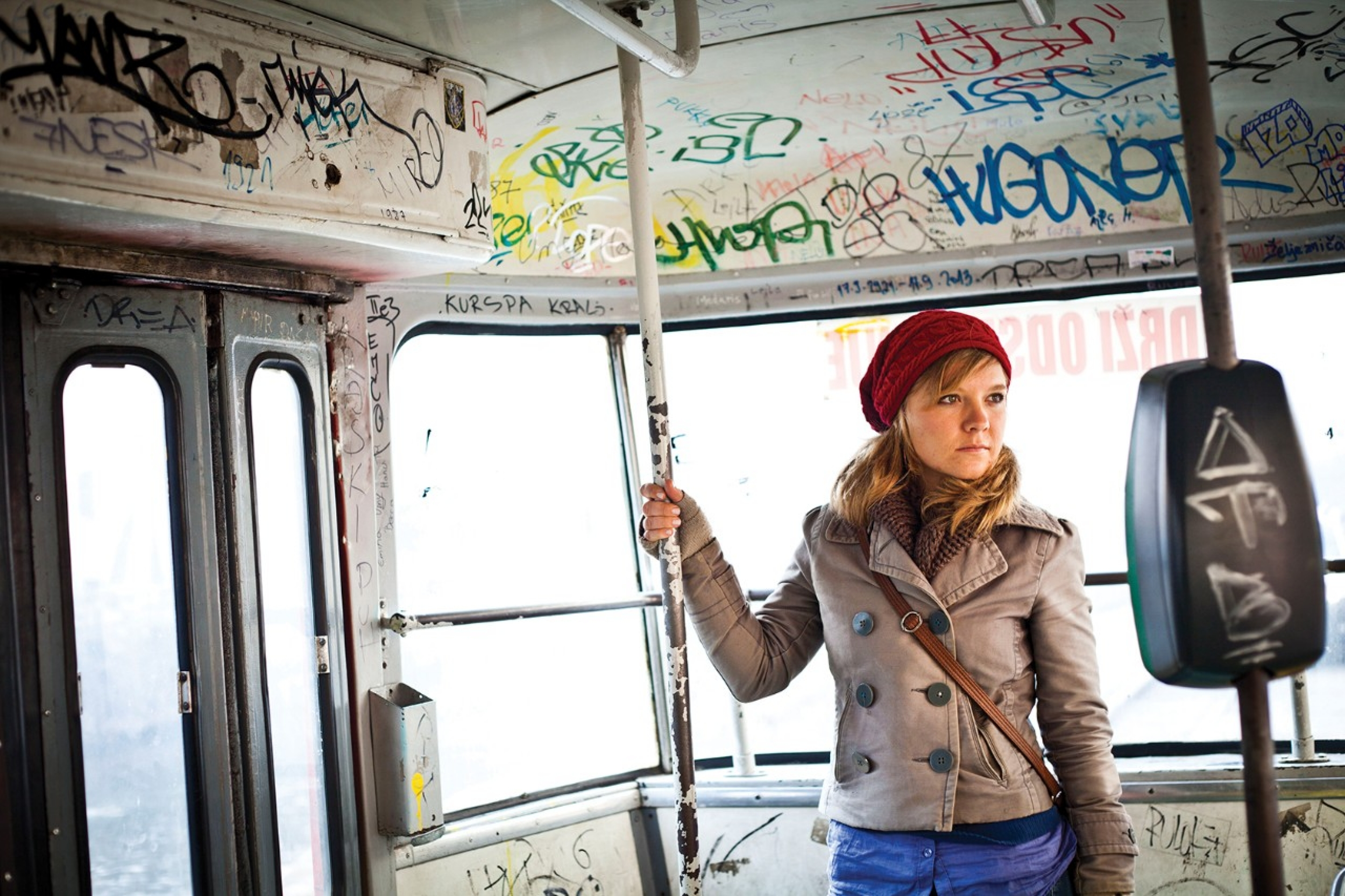 University of Cincinnati student Natalie Bullock rides public transportation in Bosnia.