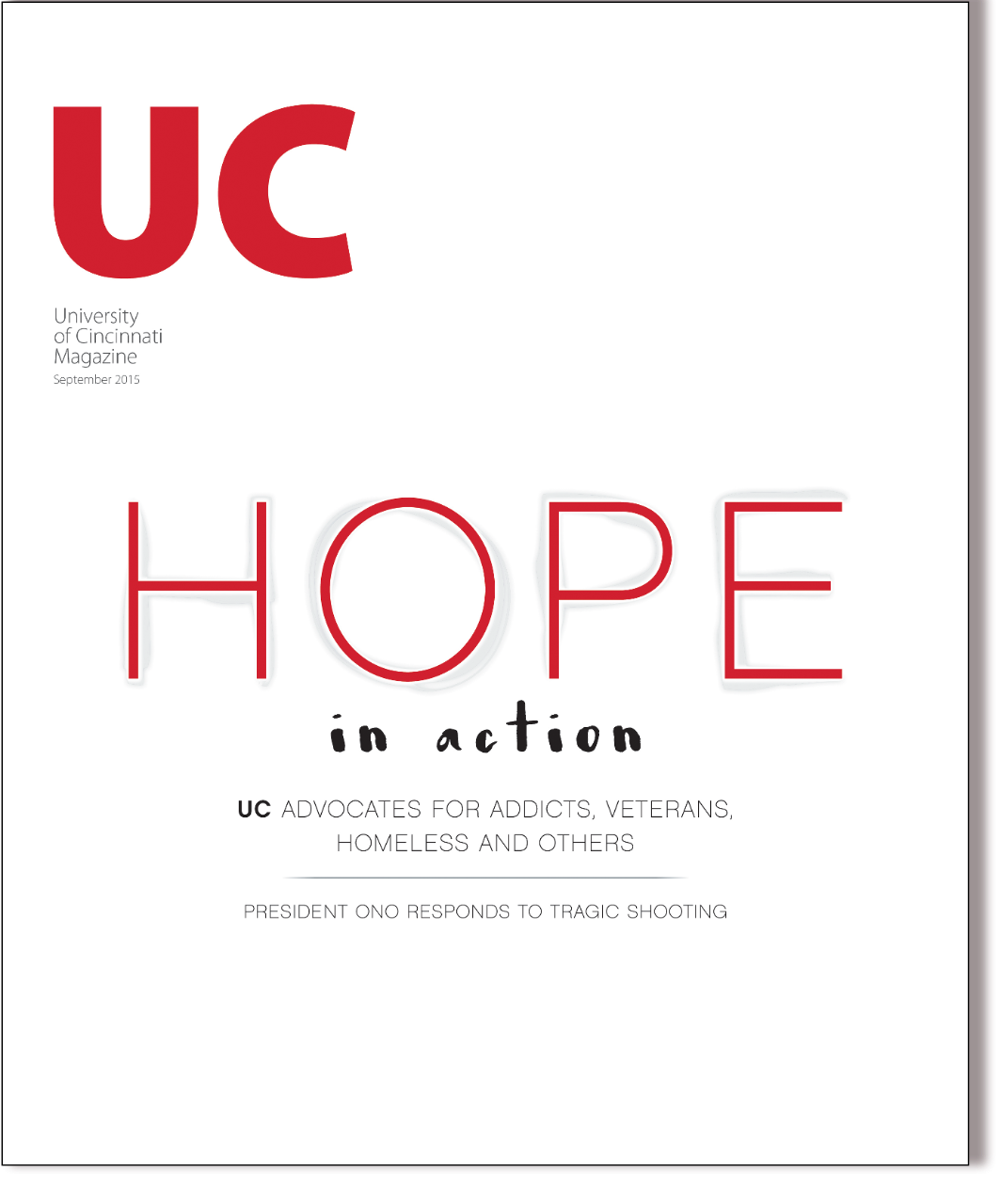 Cover of the University of Cincinnati magazine September 2015 edition
