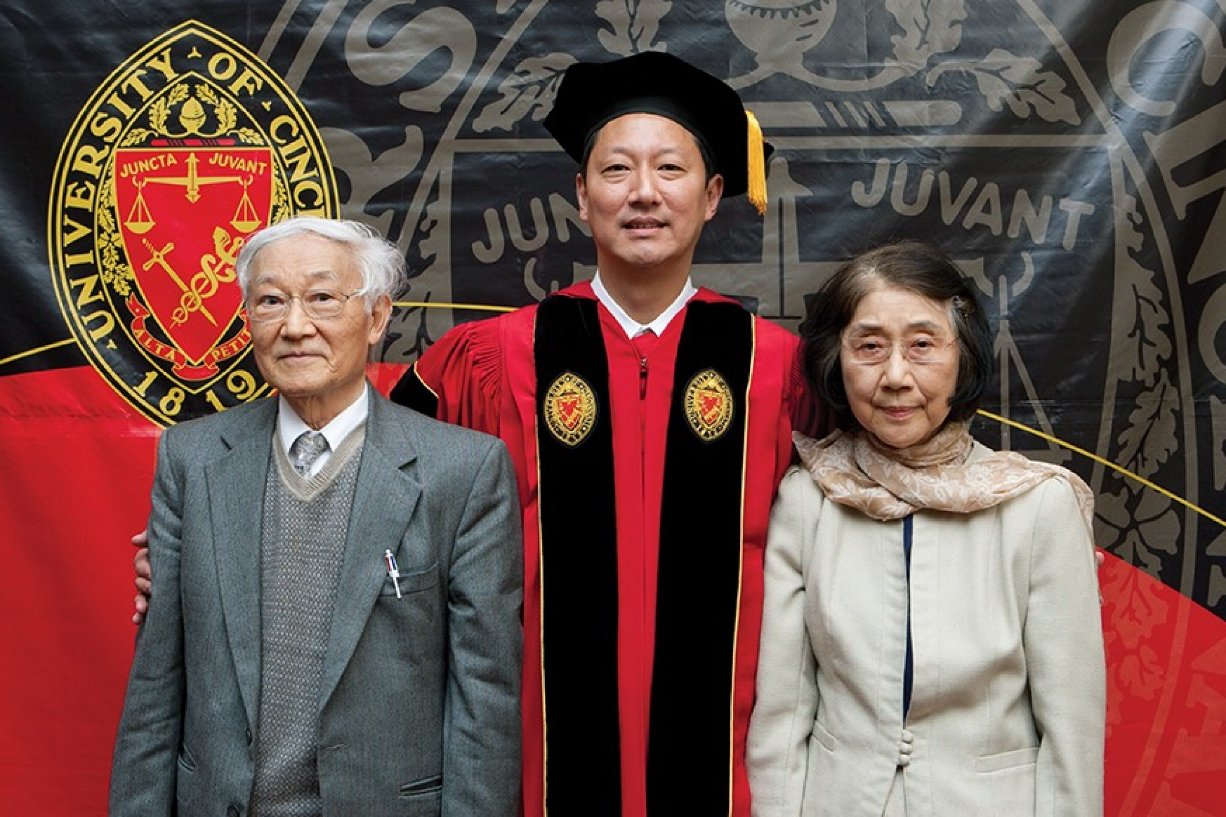 University of Cincinnati President Santa Ono at his investiture, with his father and mother.