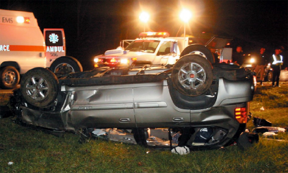 Ryan Atkins' SUV flipped upside down