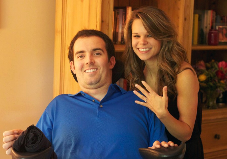 Ryan Atkins with Stephanie Perry as she shows her engagement ring