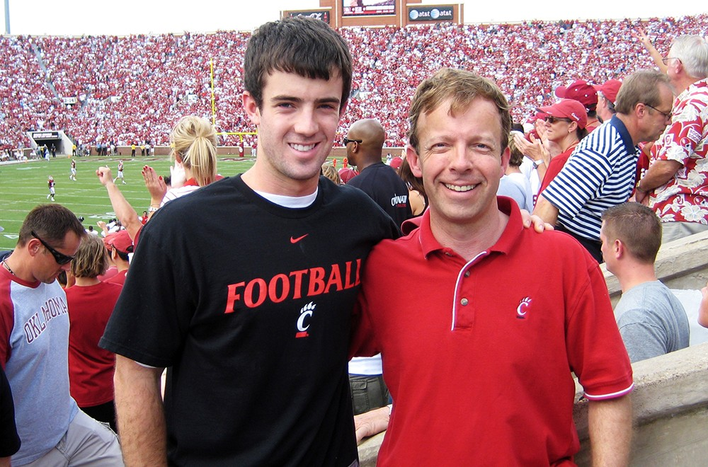 Ryan Atkins with his father prior to his accident