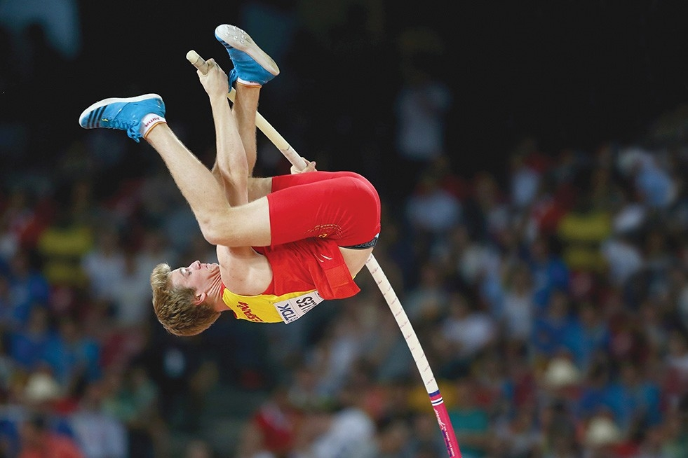 Bearcat pole vaulter Adrianne Valles competes at worlds.