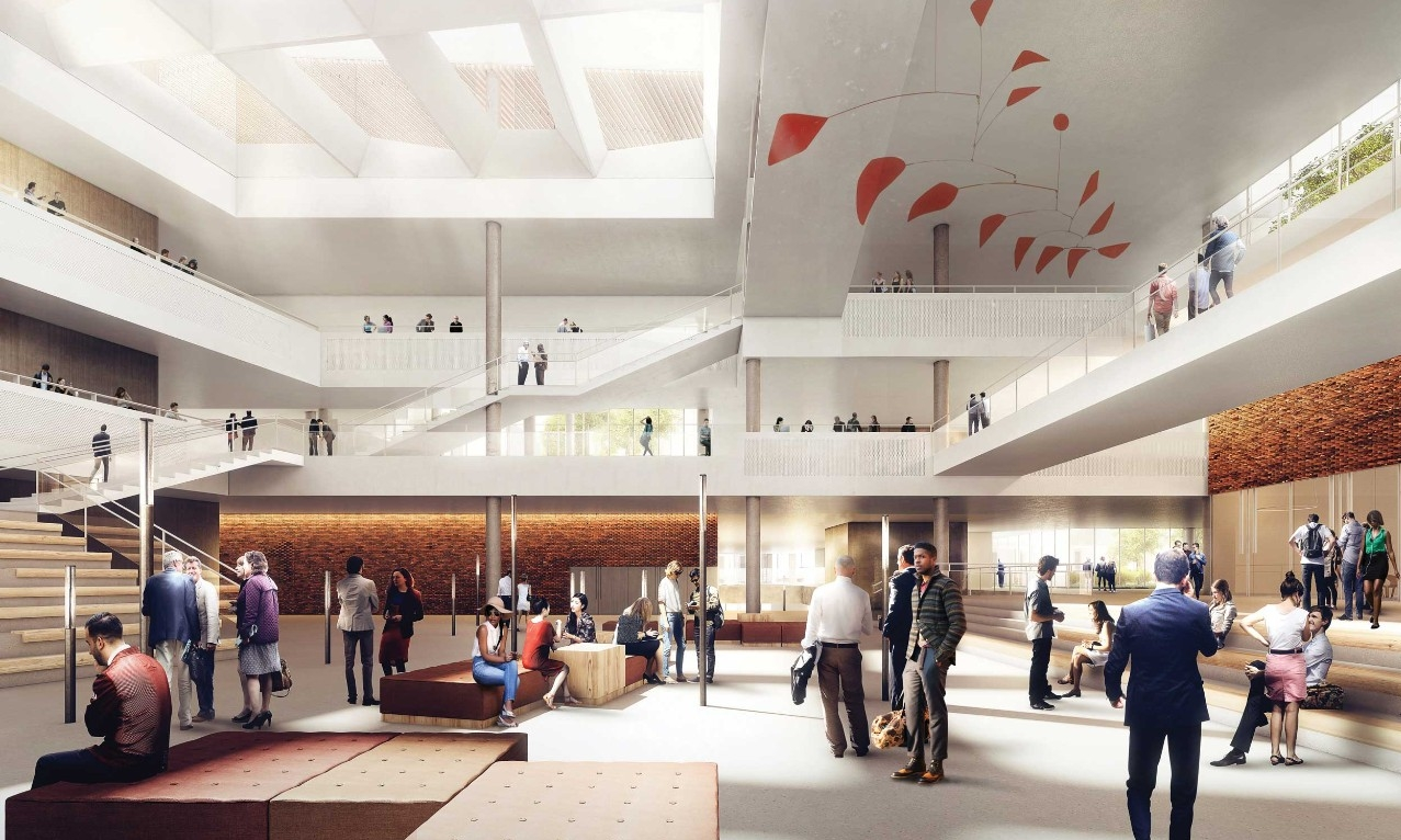 Interior Atrium Rendering Of Business School