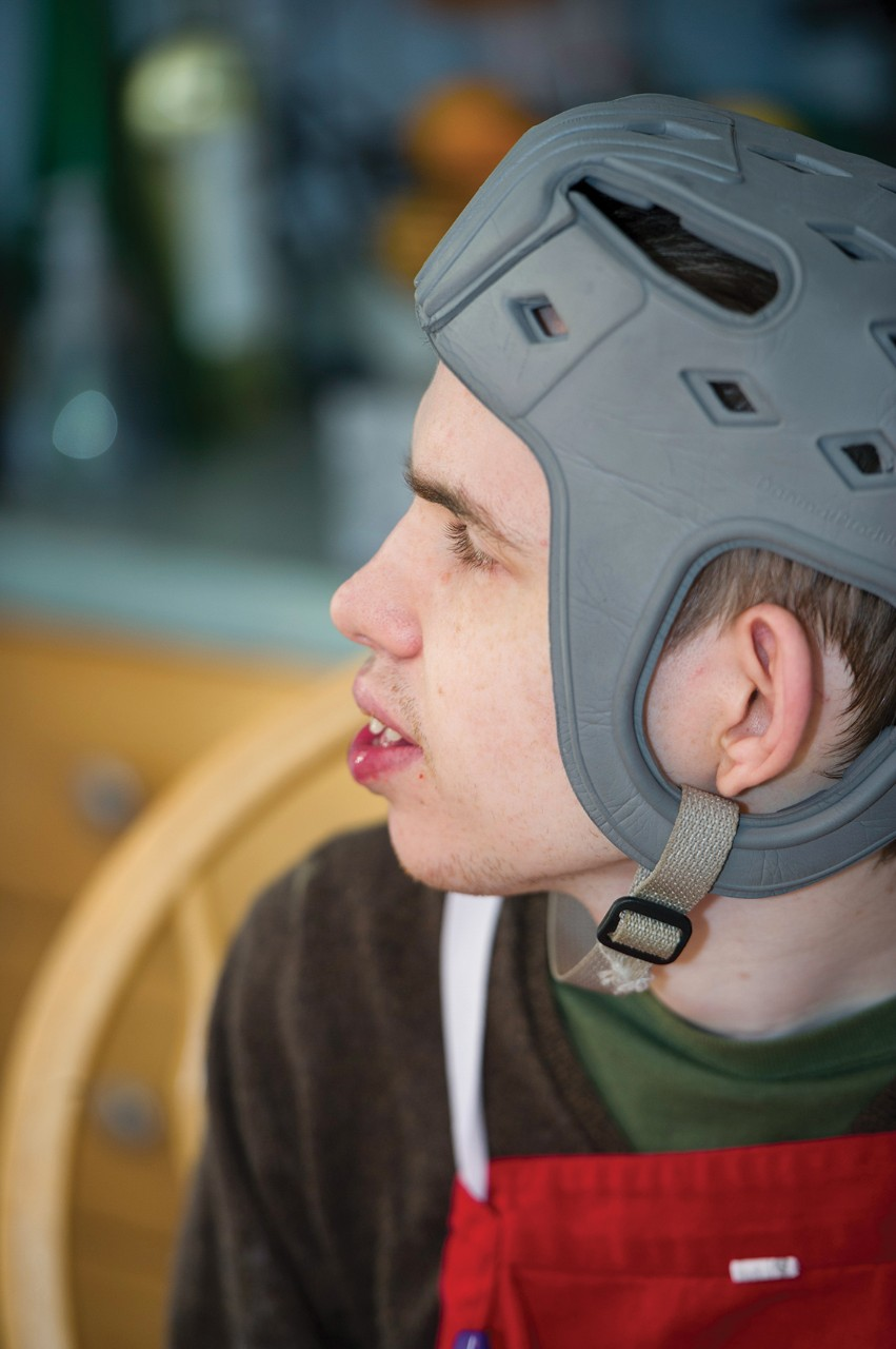 William wearing his helmet.
