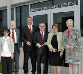 Ready to cut the ribbon to the new Rockwern Band Center are (from the left) Rockwern Trustee Stephanie Amlung, trustee Benjamin Gettler, Mitchell Livingston, Terren Frenz, Gloria Haffer and Nancy Zimpher.