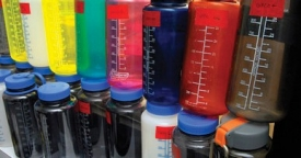 Scott Belcher tests polycarbonate plastic bottles like these for BPA.