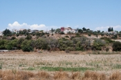 In the village of Episkopi, the red building in the center is the library, and the cedar trees at the far right stand in the gardens of the museum where Walberg's team often works.