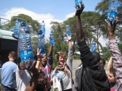 The new friends of the Dadaab Theater Project celebrate together.