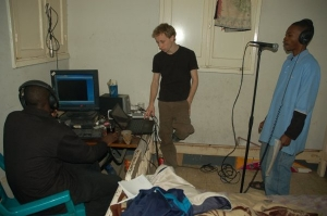 Sipus takes part in a hip hop recording session in Cairo in 2010. photo/Mallory Sutika