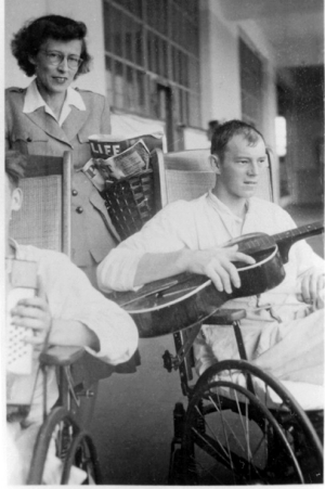 The guitar player is a GI amputee recovering in the university's 25th General Hospital when it operated out of Tongres, Belgium, shortly after the Battle of the Bulge.Distributing reading material behind him is Barbara Lincoln Ashbaugh, A&S '35, whose photos and memories constitute a large portion of this article.