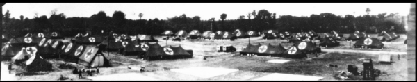 Tents make up the 25th General Hospital in Lison, France, in 1945.