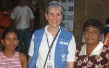 Kate Pongonis with women in Ecuador
