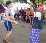 Sara Ernst dances as a farewell party for a fellow Peace Corps volunteer in El Salvador.