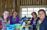 Mona Almobayyed working with women in Guatemala.