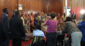 Peace Corps volunteers at the swearing-in ceremony in Liberia in 2010.