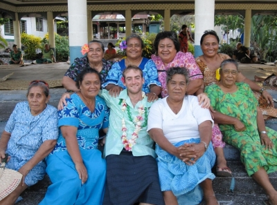 DAAP grad student Trent Lobdell was an economic-development Peace Corps volunteer in Samoa, where he worked with the women who were giving him a farewell party.