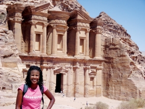 Brittney Smith at Petra, Jordan, a few years ago when she was piloting a potential exchange   program opportunity with Al Zaytoonah Private University of Jordan for the UC International   Programs Office.