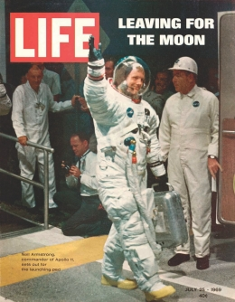Neil Armstong wearing his spacesuit on the cover of Life magazine, July 25, 1969