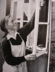 The women got a lot of practice washing windows.
