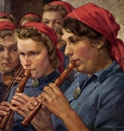 Illustration of young women playing recorders.