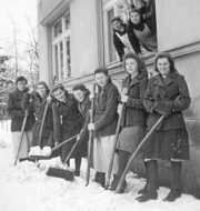 Shoveling snow was a hard job during the long winters.