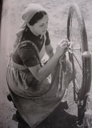 Bikes were a common mode of travel, and also required regular maintneance.
