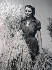 A woman harvesting hay.