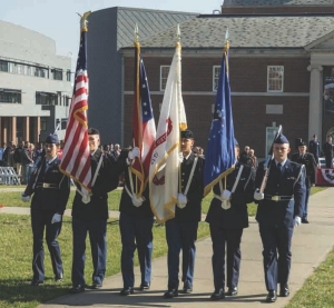 ROTC members present the colors