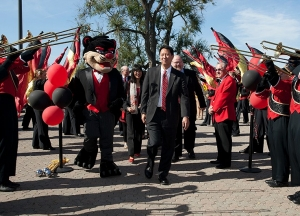 The UC band, cheerleaders and Bearcat mascot helped officially welcome Santa Ono as president in October 2012. photo/Dottie Stover
