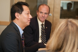 President Ono and Greg Vehr, vice president of Governmental Relations and University Communications during a meeting on campus.