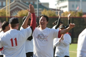 President Ono took part in the Battle for the Bat, an annual softball game between students and faculty.