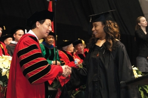 President Santa Ono personally congratulated a few thousand graduates who walked across the stage during December's commencement ceremonies.