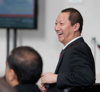 President Ono answers questions during the $1 billion annoucement.