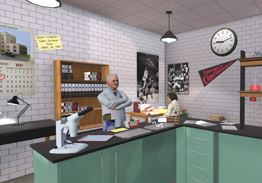Rendering of Dr. Albert Sabin's lab for virtual reality experience