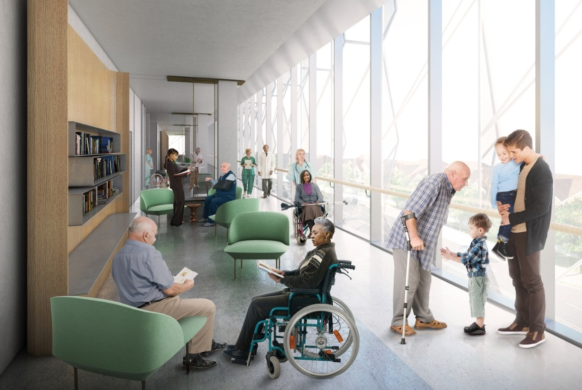 An architectural rendering of the Gardner Neuroscience Center