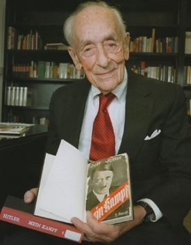 Werner Von Rosenstiel, a German exchange student in 1935, returned to the University of Cincinnati in 2001 to donate his collection of German books, now housed on the third floor of McMicken Hall in a reading room named in his honor.