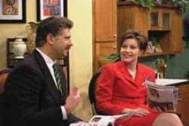 "Heather French Henry, Miss America 2000, is now hosting the ""Fox in the Morning"" news and entertainment show weekdays on Louisville's WDRB-TV, with co-host Joe Orlando. photo courtesty of WDRB-TV"